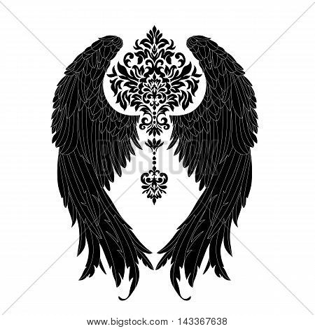 Hand  drawn angel .  wings,vector, gothic .