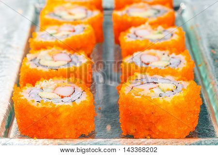 sushi japanese food rice with flying fish roe