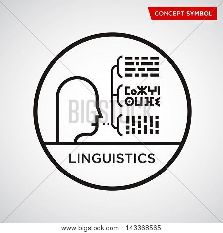 Abstract vector icon. Science, technology, thought scientist philosophy linguistics