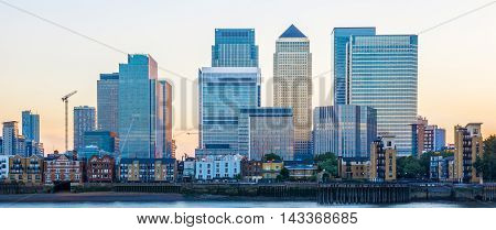 Canary Wharf financial hub in London at sunset