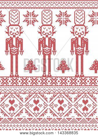 Scandinavian Printed Textile  style and inspired by Norwegian Christmas and festive winter seamless pattern in cross stitch with Xmas trees, snowflakes, Nutcracker Soldier hearts decorative ornaments
