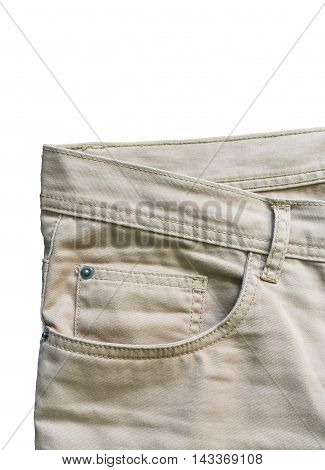 Front pocket denim trousers beige close up
