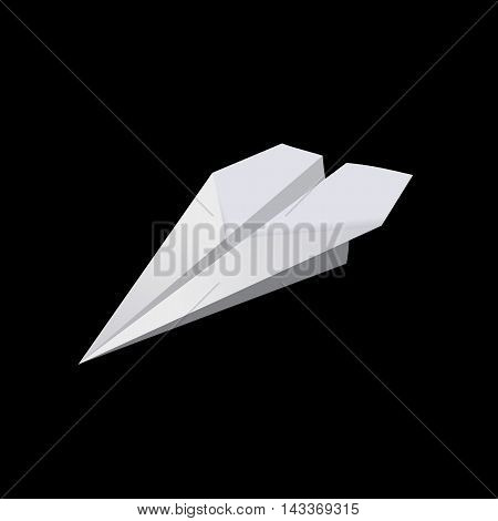 White paper plane on the black bacground