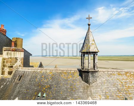 Roofs of Mont Saint-Michel tidal island medieval town and abbey. France