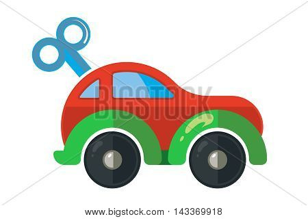 vector illustration of clockwork little car for kids isolate on white background. Icon picture made in modern flat style for web or game design.