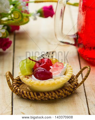 tarts Fruits on background table wooden .