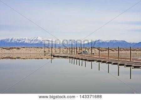 Pontoon in the harbor of Antelope Island, Utah