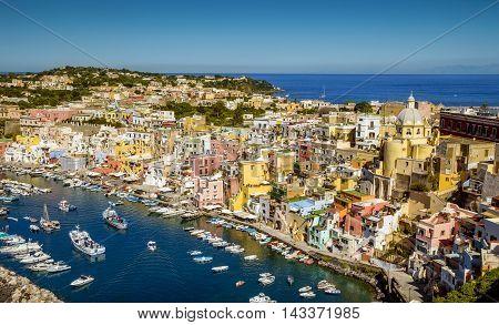 Panorama of Corricella fishermen's village on Procida island Italy