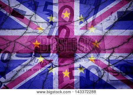 UK flag, EU flag and euros - Finance concept