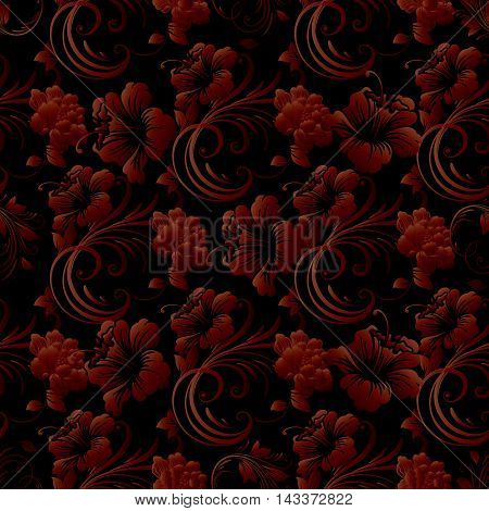 Dark red baroque floral stylish vector seamless pattern background with vintage beautiful red baroque flowers and ornaments. Luxury illustration and royal 3d decor elements with shadow and highlights. Endless elegant  texture.
