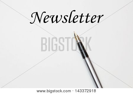 Fountain pen on newsletter, isolated on white