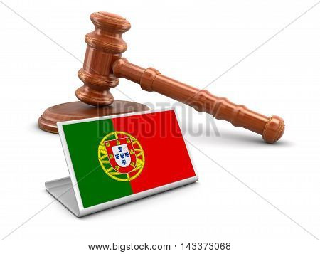 3d wooden mallet and Portuguese flag. Image with clipping path. 3d Illustration