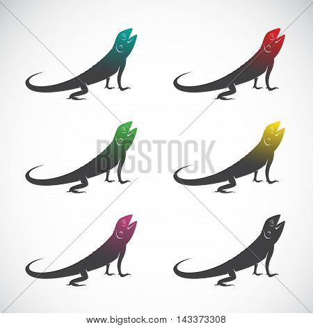 Vector group of chameleon on white background.