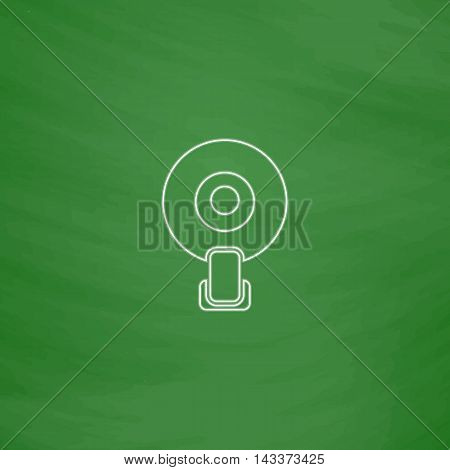 web pictogram camera Outline vector icon. Imitation draw with white chalk on green chalkboard. Flat Pictogram and School board background. Illustration symbol