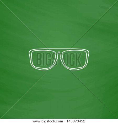 Glasses Outline vector icon. Imitation draw with white chalk on green chalkboard. Flat Pictogram and School board background. Illustration symbol