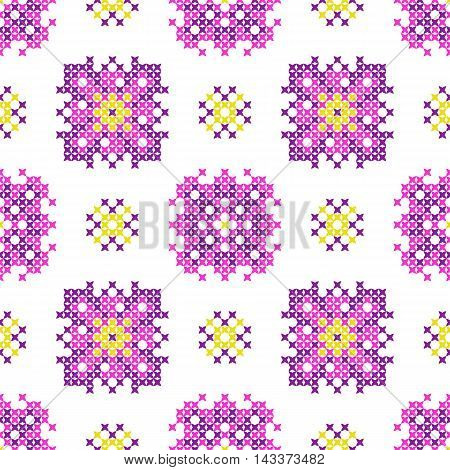 Seamless isolated embroidered texture of abstract flat pink yellow violet patterns cross-stitch ornament for cloth