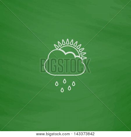 raindrops Outline vector icon. Imitation draw with white chalk on green chalkboard. Flat Pictogram and School board background. Illustration symbol