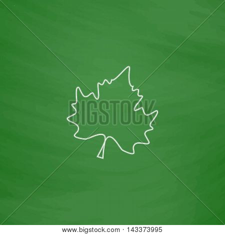 Maple Leaf Outline vector icon. Imitation draw with white chalk on green chalkboard. Flat Pictogram and School board background. Illustration symbol