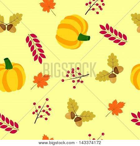 autumn seamless background with pumpkin, acorns and leaves of maple and oak