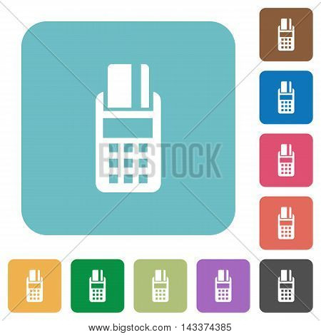 Flat POS terminal icons on rounded square color backgrounds.