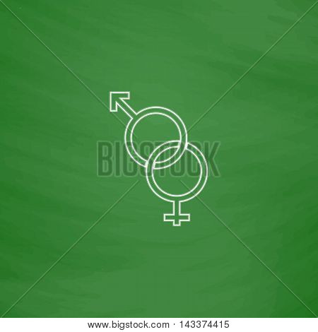 Gender Outline vector icon. Imitation draw with white chalk on green chalkboard. Flat Pictogram and School board background. Illustration symbol