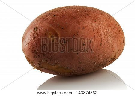 juicy fresh potato new crop on white background