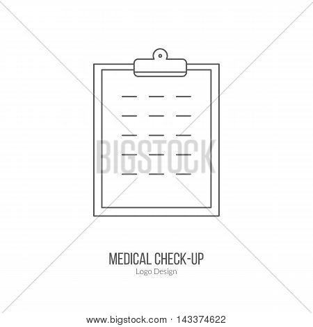 Patient chart clipboard. Single logo in modern thin line style isolated on white background. Outline medical symbol. Simple mono linear pictogram. Stroke vector logotype template.