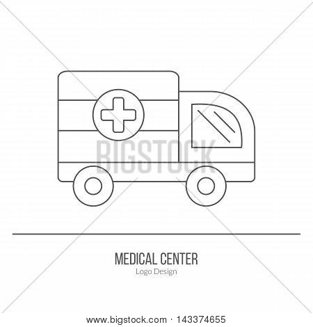 Ambulance 911 vehicle. Single logo in modern thin line style isolated on white background. Outline medical symbol. Simple mono linear pictogram. Stroke vector logotype template.