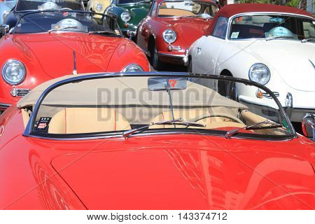 NAPLES - JUNE 30: Exhibition Porsche 911 car outdoors in Naples, June 30, 2016. Italy, Europe.