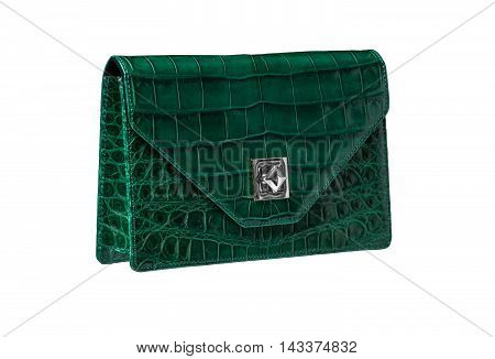 Leather handbag from alligator leather isolated on white background no brand