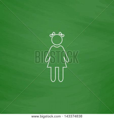 girl Outline vector icon. Imitation draw with white chalk on green chalkboard. Flat Pictogram and School board background. Illustration symbol