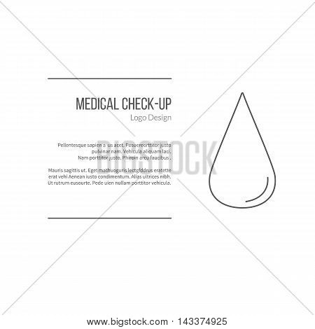 Blood droplet. Single logo in modern thin line style isolated on white background. Outline medical symbol. Simple mono linear pictogram. Stroke vector logotype template.