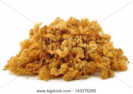 dried shredded pork at on white background
