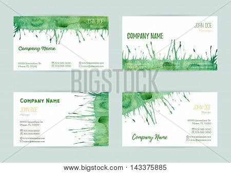 Set of hand painted watercolor horizontal business card templates. Colorful pastel abstract green brush stocks and splashes on a white background. Complied with the standard size.