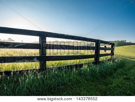 Low Angle of Horse Farm Fence in grassy hills of Kentucky