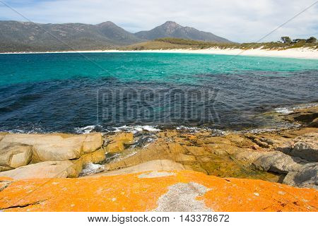 A beach in a remote part of the Freycinet Peninsula in Tasmania, Australia