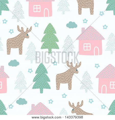 Christmas pattern - deers, Xmas trees, houses, stars. Happy New Year seamless background. Forest design for winter holidays. Vector winter holidays print for textile, wallpaper, fabric, wallpaper.