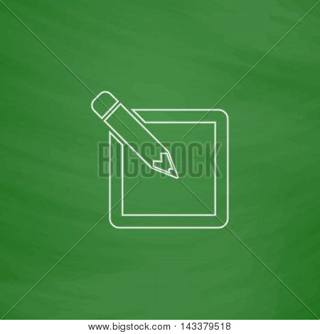 Subscribe Outline vector icon. Imitation draw with white chalk on green chalkboard. Flat Pictogram and School board background. Illustration symbol
