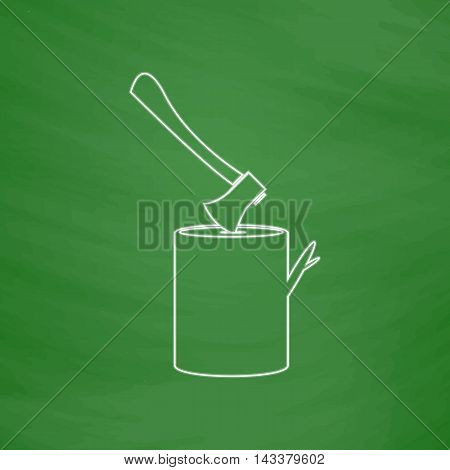 lumberjack Outline vector icon. Imitation draw with white chalk on green chalkboard. Flat Pictogram and School board background. Illustration symbol