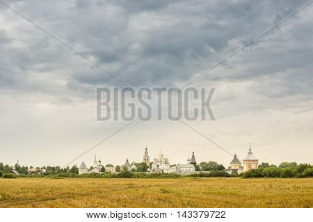Prilutsky Monastery cloudy summer day in Vologda. Russia