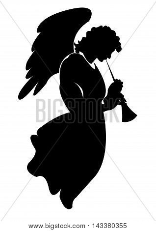 silhouette of angel with trumpet. On a white background. Vector illustration.