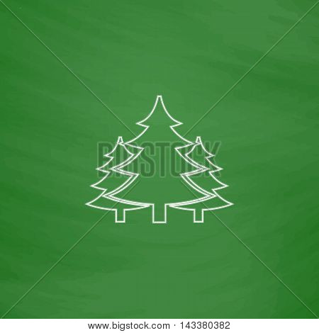 chritmas spruce Outline vector icon. Imitation draw with white chalk on green chalkboard. Flat Pictogram and School board background. Illustration symbol