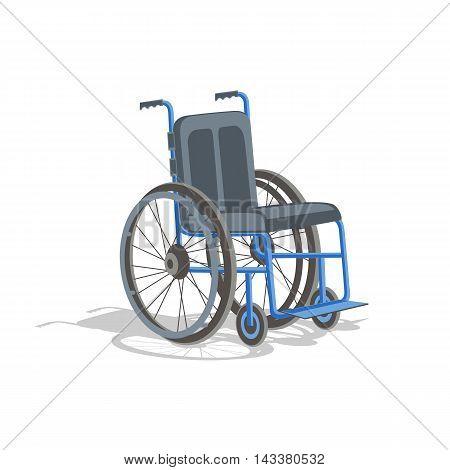 Wheelchair handicap cartoon illustration. Closeup wheelchair. Wheelchair Medical icon. Vector picture wheelchair. Wheelchair on a white background.