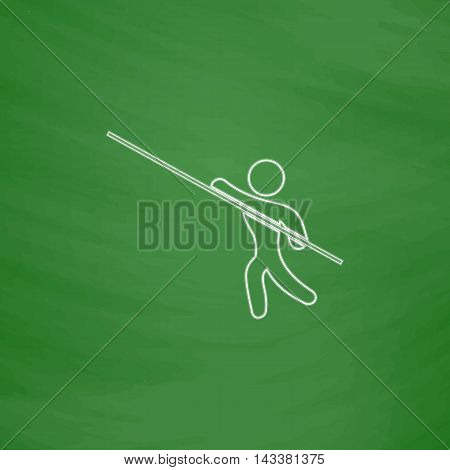 Pole vault Outline vector icon. Imitation draw with white chalk on green chalkboard. Flat Pictogram and School board background. Illustration symbol
