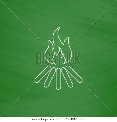 Bonfire Outline vector icon. Imitation draw with white chalk on green chalkboard. Flat Pictogram and School board background. Illustration symbol