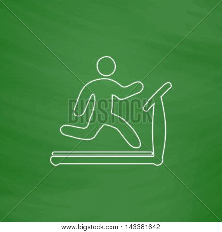 Treadmill Outline vector icon. Imitation draw with white chalk on green chalkboard. Flat Pictogram and School board background. Illustration symbol