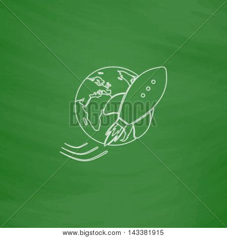 Space ship Outline vector icon. Imitation draw with white chalk on green chalkboard. Flat Pictogram and School board background. Illustration symbol