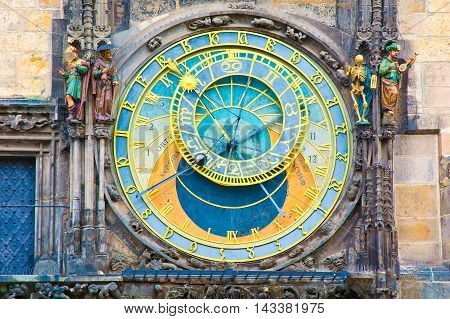 Prague. Close up of Orloj Astronomical Clock.