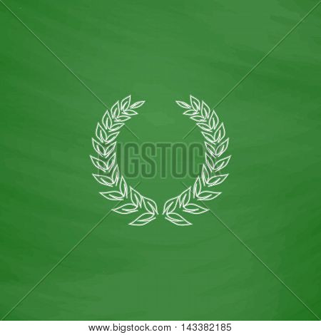 winner wreath Outline vector icon. Imitation draw with white chalk on green chalkboard. Flat Pictogram and School board background. Illustration symbol