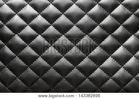 Texture of black quilted artificial leather for background